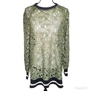 Zara Sheer Lace Long Sleeve Shift Tunic Mini Dress